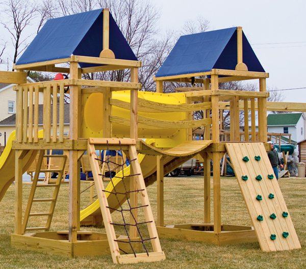 Gera gardens wood swing sets options walls for Wooden swing set with bridge