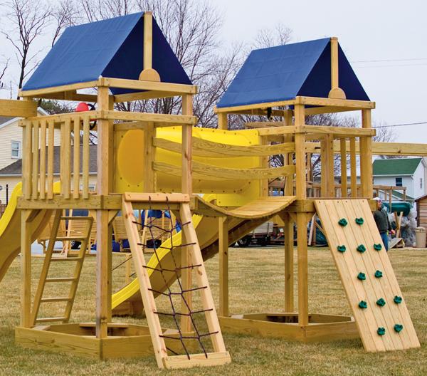 Gera gardens wood swing sets options walls for Swing set bridge
